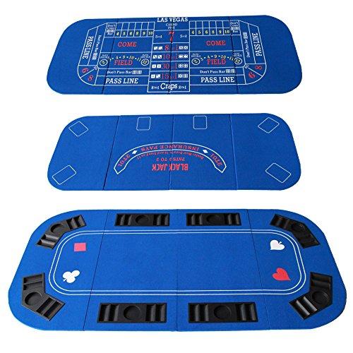 IDS Poker Casino Texas Hold'em Table Top for 3 in 1 (Poker/Blackjack/Craps) Folding Blue Felt Carrying Bag