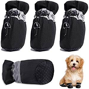 HOOLAVA Dog Shoes, Dog Boots Paw Protector with Reflective Straps, Non Slip Dog Booties for Small Medium Large Dogs and Puppies 4PCS(Size 3: 1.77″x1.37″)