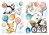 dekodino Sticker mural pépinière aquarelle animaux forêt avec ballons set déco