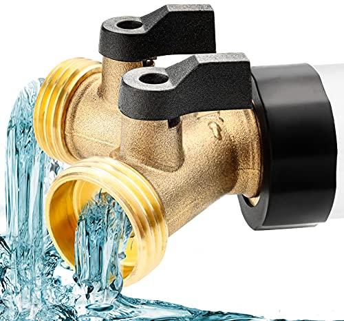 Conector de manguera de latón y colector de 3/4 pulgadas con válvulas de cierre, 2 grifos de latón para lavavajillas, lavadoras, mangueras de jardín, filtros de agua, tanques de agua (1 unidad)