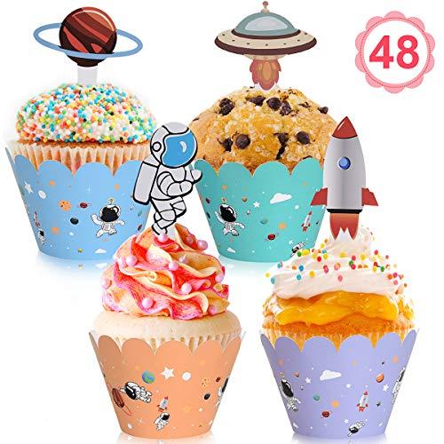 Vabaso 48 Stück Raumfahrt Thema Cupcake Wrappers with Rakete, Jupiter, Astronaut und UFO Toppers, Cake Muffin Deko für Weltraum Thema Kinder Geburtstag Party