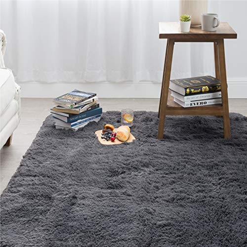 Bedsure Shag Area Rugs for Bedroom, Grey Fluffy Rug Plush Living Room Carpet 4 x 5 Feet, Fuzzy Nursery Shaggy Rugs for Kids Room