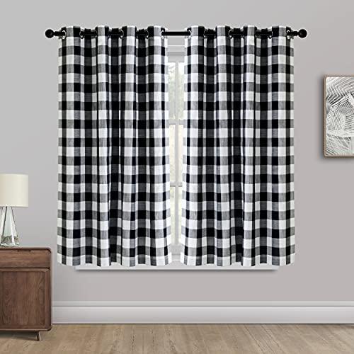 Creativesfun Farmhouse Faux Linen Look Light-Filtering Buffalo Plaid Grommet Window Curtain Checks Line Up Set(Black & White, Panel 丨W53 X L84-INCH 2PCS)