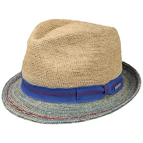 Stetson Sombrero de Paja Crochet Trilby Mujer/Hombre - Sol Verano Playa con Banda Grosgrain Primavera/Verano - L (58-59 cm) Celeste