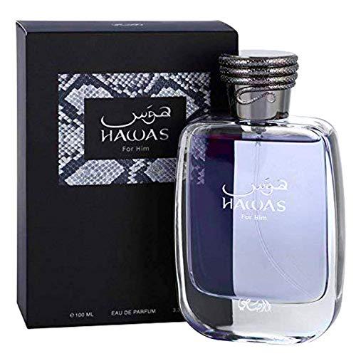 Hawas for Men EDP - Eau De Parfum 100ML (3.4 oz) | Long-Lasting Pour Homme Spray | Aquatic scent designed to embody masculine strength and vigor | Signature Bottle | by RASASI