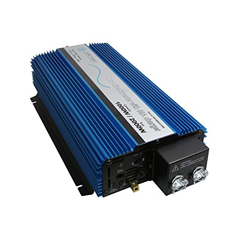 AIMS Power PIC100012120S Pure Sine Inverter, 1000 Continuous, 2000W Surge (Peak Power), Selectable 25A or 55A Battery Charger, Built in Transfer Switch, 12V DC Input