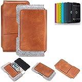 K-S-Trade® Schutz Hülle Für Shift Shift4.2 Gürteltasche Gürtel Tasche Schutzhülle Handy Smartphone Tasche Handyhülle PU + Filz, Braun (1x)