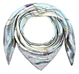 Corciova 35' Large Women's Satin Square Silk Feeling Hair Scarf Wrap Headscarf Bizzard Blue and Grey Belts Pattern