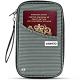 Savisto Multi-Purpose Travel Wallet Organiser | RFID Blocking <span class='highlight'>Passport</span> & Document Holder Inc. Slots & Compartments for Credit Cards, Boarding Passes, Tickets, Keys, Cash & More - Nylon - Grey