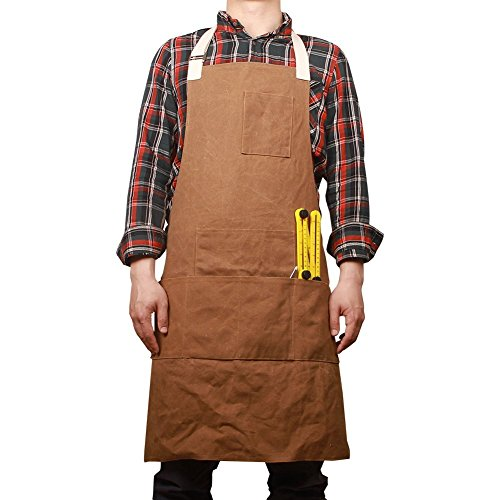 Tablier de travail en toile cirée solide avec fonction d'étanchéité, tenue souple et ventilée pour cuisine, garage, et d'autres activité