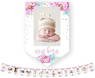 E&L Unicorn Photo Banner, Sweet Heart First Birthday Photo Banner, for First Birthday Party Decorations, Monthly Milestone Photo Banner, Justborn to 12 Months Photo Banner