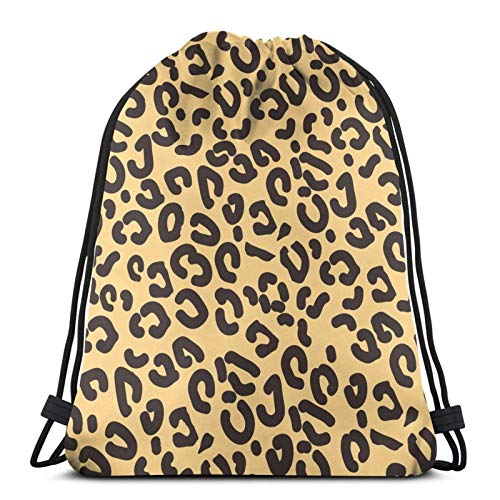 fenrris65 Mochila con cordón, diseño de leopardo realista de animales The Arts String Backpack Terylene para hombre y mujer
