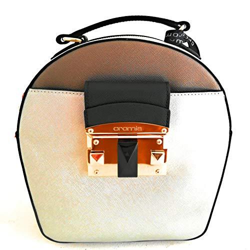Cromia Damen Handtasche oval mit Schulterriemen Leder Linie Bag IT Saffiano 1403869 Farbe Silber Maße 21,5 x 21,5 x 9 cm