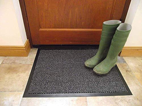 FunkyBuys tappetino grande grigio/Tappetino da cucina resistente, bordo PVC, tappeto medio, tappetino da ingresso, nero, 100% polipropilene/polipropilene, Grey, 40x60