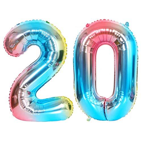 DIWULI, XL Zahlen-Ballons, Zahl 20, blau bunt Schillernde Regenbogen Luftballons, Zahlen-Luftballons, Folien-Luftballons Nummer Jahre, Folien-Ballons 20. Geburtstag, Party, Dekoration, Geschenk-Deko