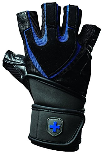 Harbinger Herren Fitnesshandschuhe Training Grip Wrist Wrap, Black, L, 360128