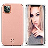 LONHEO iPhone 11 Pro Max Led Case iPhone 11 Pro Max Illuminated Cell Phone Case Great for a Bright Selfie and Facetime Light Up Case Cover for iPhone 11 Pro Max - Rose Gold