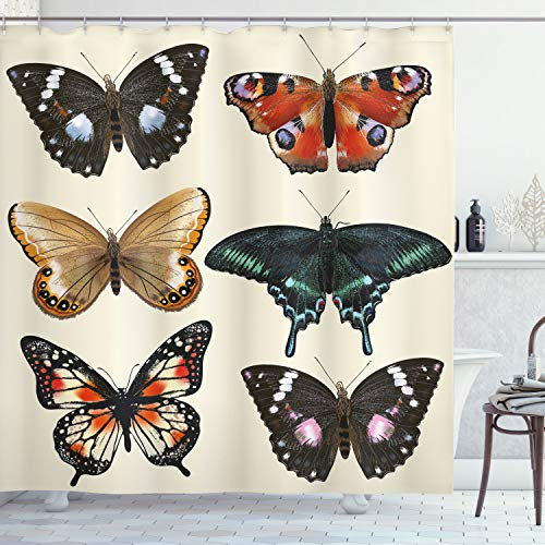 "Ambesonne Retro Shower Curtain, Colorful Different Type of Butterfly Wings Moth Old Fashion Print, Cloth Fabric Bathroom Decor Set with Hooks, 70"" Long, Multicolor"