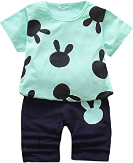 Hopscotch Boys Cotton Art Print Tshirt and Shorts Set in Green Color