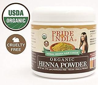Pride Of India - Organic Henna (Lawsonia Inermis) Hair Color Powder - Natural Color, 8oz (225gm) Jar