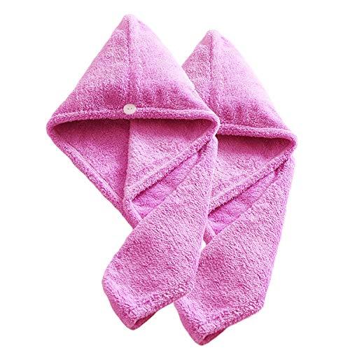 MICHETT Turban mit Knopf Mikrofaser Handtuch für Kopf und Lange Haare 2 Stück Pink Set schnelltrocknendes Handtuch 22x60 cm