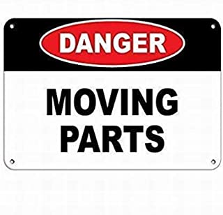SUPVIVI Danger Moving Parts Hazard Sign Hazard Labels Sign 8 x 12 Tin Warning Sign Parking Sign Crossing Sign