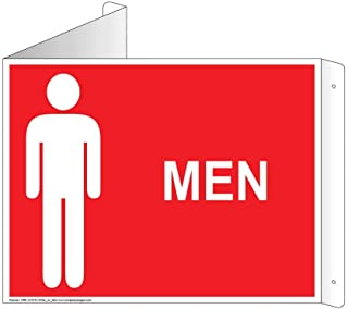 Men Restroom Wall Sign, Triangle Projection-Mount, 13x10 inch Red Aluminum for Public Bathrooms by ComplianceSigns