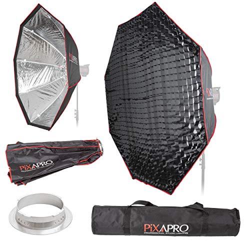 PIXAPRO Studio-Stroboskop-Blitzschirm, achteckig, leicht zu öffnender Softbox, Multiblitz (V), Wabengitter, weich, sanft, diffuses Licht, tragbar, 150 cm, Halterung Multiblitz (V))