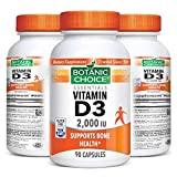 Botanic Choice Vitamin D3 - Adult Daily Supplement - Delivers 5000 IU Supports Proper Calcium Absorption for Healthy Bones and Teeth Promotes Strong Immune Function Healthy Heart Colon and Breast