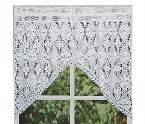 """Creative Linens Knitted Crochet Lace Kitchen Curtain 38"""" L Swags White"""
