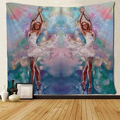 kjbfkghj Tapiz,Fondo Colorido Bailarina Tapices de niña Arte único Colgante de Pared Decoración de Pared Paño Manta de Pared Mantel Decoración de Pared -51x59 Pulgadas (130x150cm)