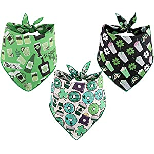 BoomBone St Patricks Day Dog Bandana 3 Pack – Triangle Bibs Pet Scarf for Small to Large Dogs and Cat