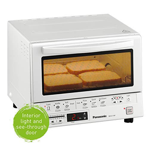 Product Image 6: Panasonic FlashXpress Compact Toaster Oven with Double Infrared Heating, Crumb Tray and 1300 Watts of Cooking Power – 4 Slice Countertop Toaster Oven – NB-G110P-W (White)