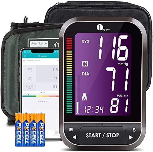 1byone Tensiómetros de Brazo Bluetooth, Tensiometro Bluetooth, Medidor Presion Arterial admite almacenamiento Cloud y sincronización de teléfonos inteligentes, Exportar datos como Excel - Negro