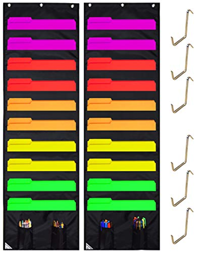 COMPONO Wall Storage Pocket Charts (10 Pocket - 2 Pack, Black) File Organizers with Free Bonus 6 Door Hangers. Best Pocket Chart for School, Classroom, Home or Office. Wall Pocket Chart Organizer