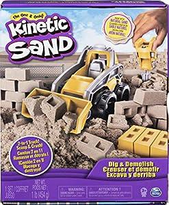 Kinetic Sand Truck Playset with of, for Kids Aged 3 and Up Dig & Demolish-Juego de camión con 453 g de Arena cinética, para niños a Partir de 3 años, Color Gris (Spin Master 6044178)