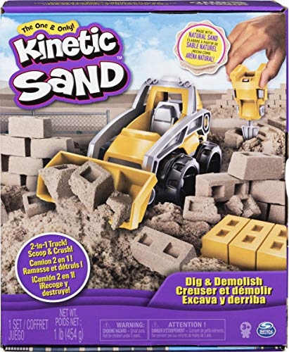 powerful Kinetic Sand Playset, Excavator, Demolition Truck, 1 lb Kinetic Sand for Kids Over 3 Years