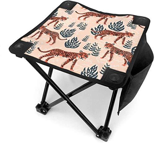 GuyIvan Camping Hocker Klapp Blush Coral Safari Tiger Tragbarer Stuhl Camping Jagd Angeln Reisen mit Tragetasche