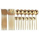 PPuujia Juego de vajilla de acero inoxidable 18/10 con cuchara y cubertería de acero inoxidable 18/10, juego de vajilla de cocina, juego de vajilla (color 24 piezas de oro rosa)