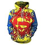 LMCK Sudadera con Capucha para Hombre Superhéroe Superman Suéter Impreso En 3D Cosplay Sudadera Deportiva Sudadera Unisex Sudadera con Capucha Fresca,A-XXXXL