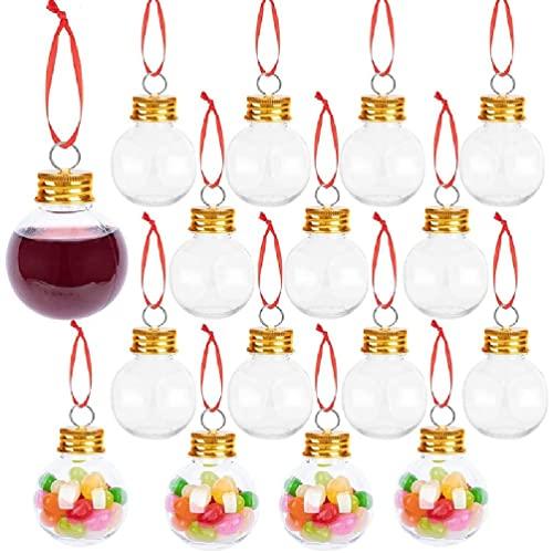 Colgante de botella de jugo de fruta transparente de Navidad para llenar vino bebidas dulces DIY manualidades colgantes adornos botella de vino colgante