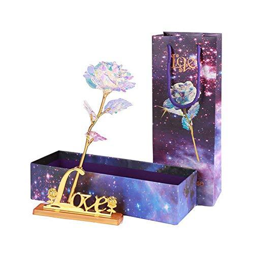 Gobesty Galaxy Rose, 24K Rose Blumen Gold Romantische Geschenk Plastik Künstlich Deko für Valentinstag Hochzeit Vorschlag Verlobung Muttertag Geburtstag Weihnachten