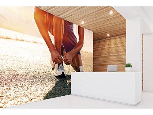 Fotomural Vinilo Pared Gimnasios Rúnning Atarse Zapatilla | Fotomural para Paredes | Mural | Vinilo Decorativo | Varias Medidas 350 x 250 cm | Decoración comedores, Salones, Habitaciones.