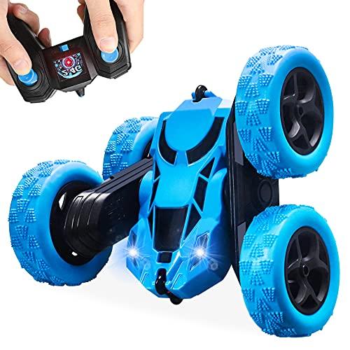 Yojoloin Coches Teledirigido para Niños 6 7 8 9 10 11 12 Años,Coche Radiocontrol Coche de Juguete,4x4 Coche RC Stunt con 360° Rotación,Regalos para Niños Niñas (Azul)
