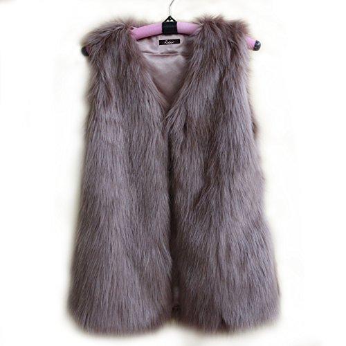 fhillinuo Fox pelo sintético chaleco para mujer, Caqui