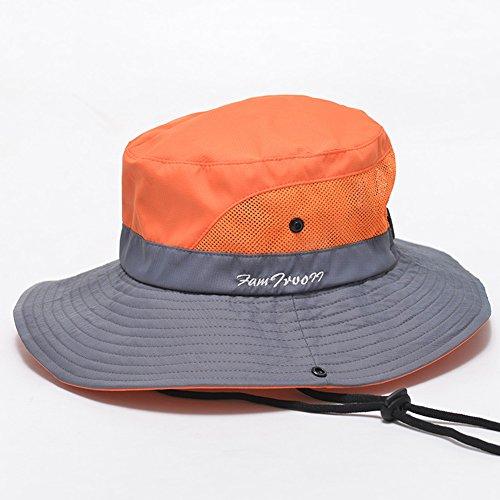 WYYY Chapeau Dame Chapeau De Soleil Nylon Round Top Pliable Engrener Respirant Protection Contre Le Soleil ( Couleur : Orange , taille : M )