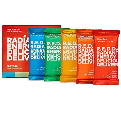 R.E.D.D. Bar, Vegan Protein Bar, Low Sugar & Gluten-Free, Variety Pack, 8 Bars