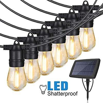 Solar String Lights Outdoor Waterproof Shatterproof - 48 Ft Commercial Grade Weatherproof, Smart Dusk to Dawn Sensor, 15 Pcs Plastic Vintage Edison Bulb, Decor for Patio, Pergola, Garden, Bistro