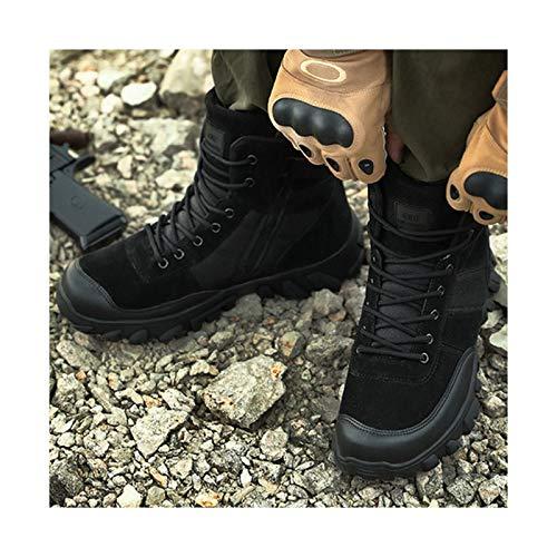 HaoLin Botas Tácticas para Acampar Bota De Combate Militar Calzado De Montañismo De Trekking De Caza del Ejército para Hombres Zapatos De Trabajo De Invierno,Black-45