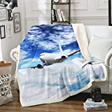 Feelyou Aircraft Sherpa Throw Blanket Airplane Print Plush Blanket Aircraft Flying Fleece Blanket for Couch Sofa Holiday Travel Fuzzy Blanket Ultra Soft Room Decor Throw 50'x60'